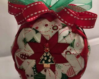 Red, White and Green ornament with tree on the front