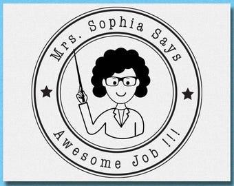 Personalized Teacher Stamp,  Custom Classroom Stamp, Excellent Work Teacher Stamp, Awesome Job Teacher Stamp