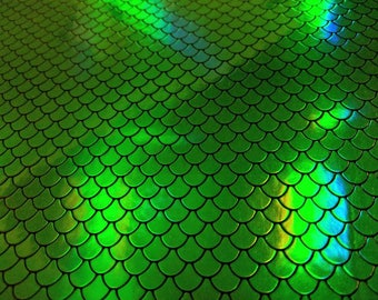 Green Scales Holograph Vinyl - Embroidery Glitter Vinyl - Canvas Backed Glitter Vinyl - Applique Rainbow Glitter Vinyl - Embroidery Supplies