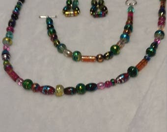 Colorful Beaded Necklace, Bracelet and Earrings