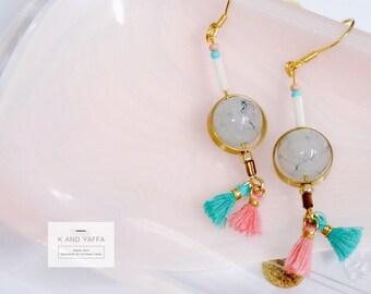 Gold and marble glass tassel handmade earrings