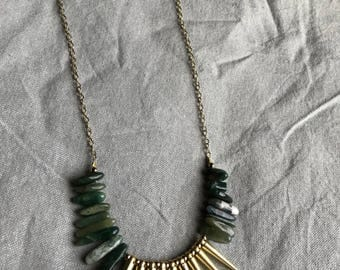 Golden Spike Beaded Necklace