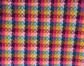 Vintage Multi-Colored Fabric,Plaid Material