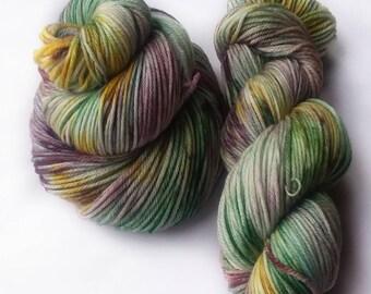 Hand dyed yarn, gouldian finch, 100% super wash merino wool yarn, dk weight yarn, green yarn, yellow yarn, purple yarn