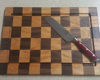 Custom Cherry and Walnut checker cutting board