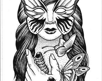 Lady of Butterflies A4 print