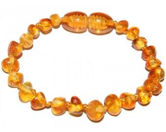 Genuine Baltic Amber Baby Teething Bracelet Honey