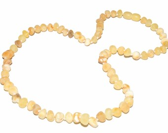 Genuine Raw Baltic Amber Beads Necklace Butter White