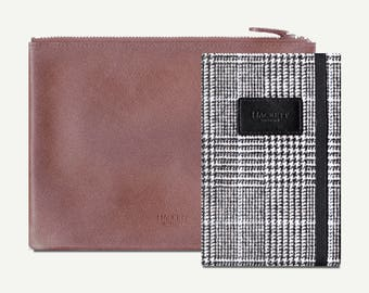 Travel Notebook, Notebook Pouch, Hackett - sketchbook, blank journal, plain, fabric notebook, leather pouch, notebook set, hardcover, A6