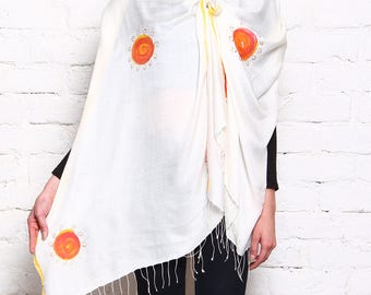 Hand Painted Sun inspired motif on Silk Stole
