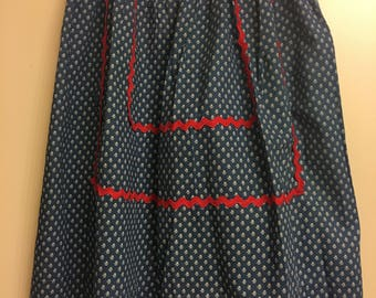 Vintage Apron - Blue, Red & White