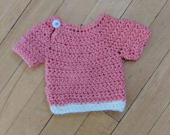 Pink Preemie Shirt with Button Front & White Hem
