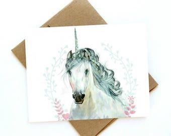 Watercolor Unicorn card