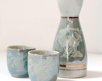 Japanese Turquoise Sake Set