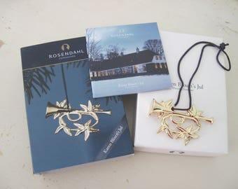 Scandinavian Christmas Ornament Gold Bugle Rosendahl Karen Blixen Jul Danish Decooration Decor