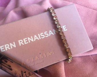 antique vintage pink elastic diamante crystal bracelet jewellery