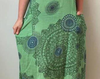 Lagenlook Tie back linen dress *green*