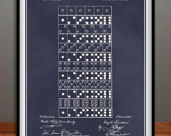 1873 Dominoes Game Patent Print, Game Room Art, Dominoes Game, Game Room Decor, Family Game, Kids Room Decor, Dominoes Art, Dominoes Tiles
