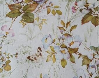 Retro vintage butterfly floral garden blossom vinyl wallpaper