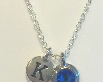 Handmade necklace with birthstone and hand stamped letter