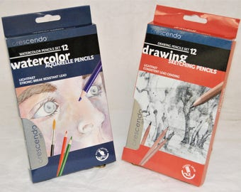 Crescendo Art Special Value 12 Drawing Pencils + 12 Watercolor Pencils Set NEW Brand And REAL QUALITY!