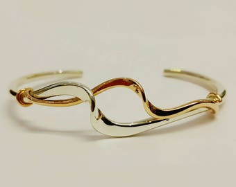 Silver and 9ct Red Gold Open Bangle