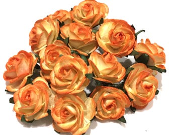 Two Tone Orange Open Mulberry Paper Roses Or108