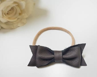 Brown | GENUINE Leather Headband with soft Nylon Band | Headband Bow