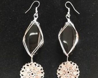 Black Wire Wrap Stone Dangle Drop Earrings