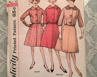 1960's Misses' Suit Size 12 Simplicity 4136