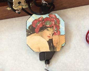 Art nouveau necklace /decoupage necklace/mucha necklace