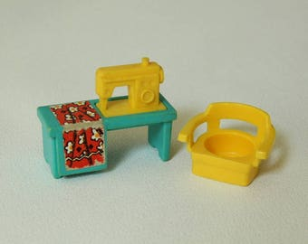 Fisher Price Little People, SEWING MACHINE, #725 Play Family House Bath/Utility Room Set, 1972-1978, Made in U.S.A.