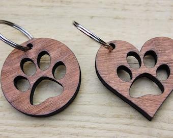 Wooden Paw Keyring, Dog Lover, Cat Lover Gift, Keyring Accessory, Wooden Keyring, Dog Paw, Cat Paw