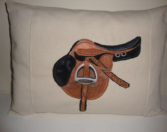 Pillow, saddle, english,throw , toss, accent, decorative, twill cotton, thread embroidery, appliqué, insert included.