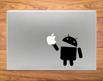 Android Eating Apple Macbook Decal Stickers Mac Pro / Air / Retina Sizes 13 / 15 / 17 Laptop Cover