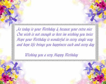 Spring Floral Edge designs Birthday card inserts with verse