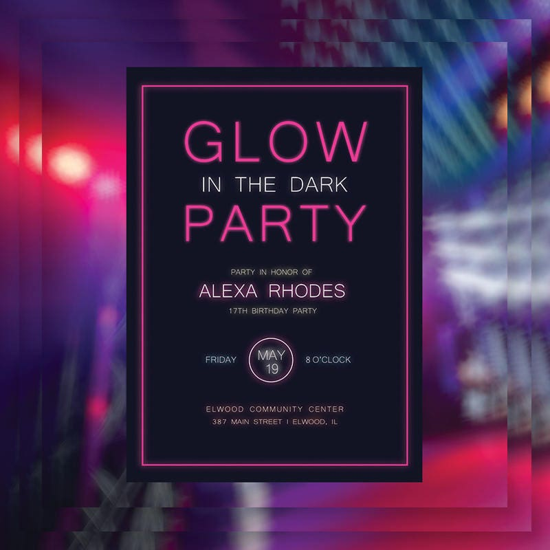 Neon Glow Party Invitation or Poster ? Digital or Printed ? Free ...
