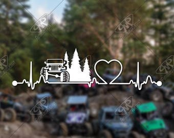 DECAL – [Heartbeat Jeep] - Vinyl Decal, Bumper Sticker, Jeep Sticker, Offroad Sticker, Car Decal, Wrangler Decal, Jeep Decal