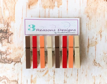 Thanksgiving Decor - Fall decor - Decorative Clothespins - Photo Display - Office Organization - Card Holders - Fridge Magnets - Party Decor