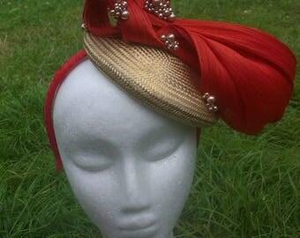 fascinator  red/coral gold base silk hat