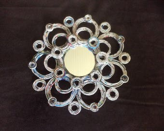 Handcrafted rolled paper mirror 9 1/2 inches