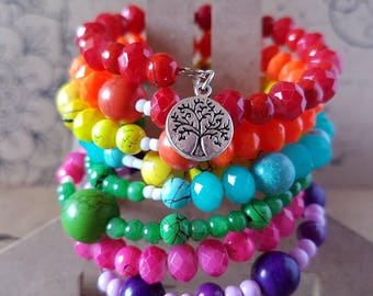Rainbow memory wire beaded bracelet with tree of life charm