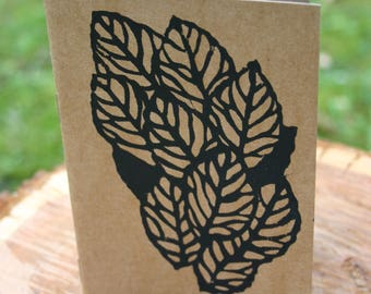Leaves dance-small notebook blank, linocut 10.5 x 15 cm