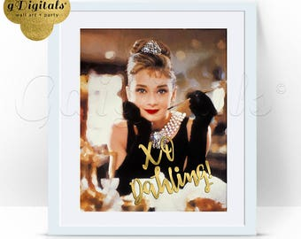 Audrey Hepburn Digital Print Poster, XO Dahling Wall Art, Home Decor, Gold 8x10 Instant Download. {Print/Color & Gold}