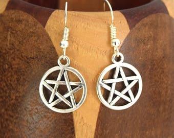 Pentacle earrings, witch earrings Star 5 Silver branch