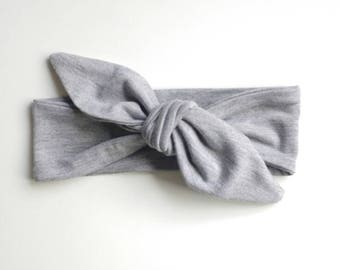 Grey Baby Headband, Adult headband, Child headband, Baby Headwrap, Toddler Headband, Baby Head Wrap, Baby Hair Band, Baby Knot Headband