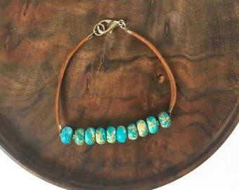Jasper bracelet, Leather bracelet, Leather jewelry, Turquoise bracelet, Jewelry, Boho jewelry, Beaded bracelet, Turquoise jewelry, Bracelet