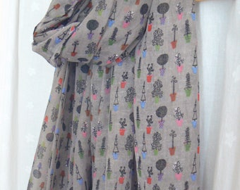 Ladies Women's Plant Print Scarf Trees Topiary Plants Gardening Shawl Wrap Grey Taupe Greige