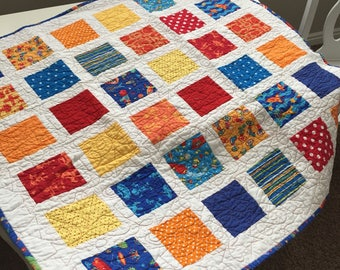 Brightly Colored Robot Baby Quilt