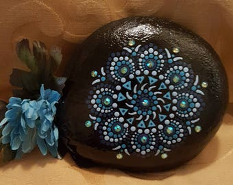 Mandala in Blue,painted stone,mandala,crystals